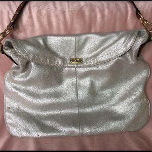 J. CREW silver leather soft shoulder bag
